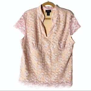 Lane Bryant Lace Pink Top Short Sleeves Size 18/20